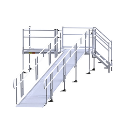Ez access modular ramp with handrails modular wheelchair for Prefab wheelchair ramp