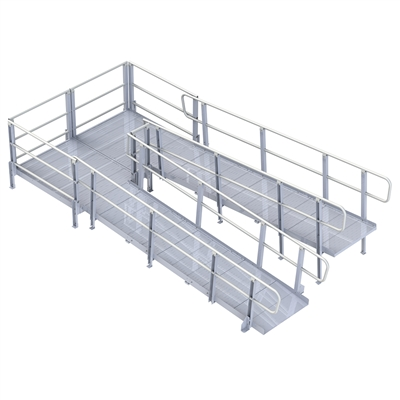 Pvi modular xp ramp with handrails 48 inches wide for Prefab wheelchair ramp